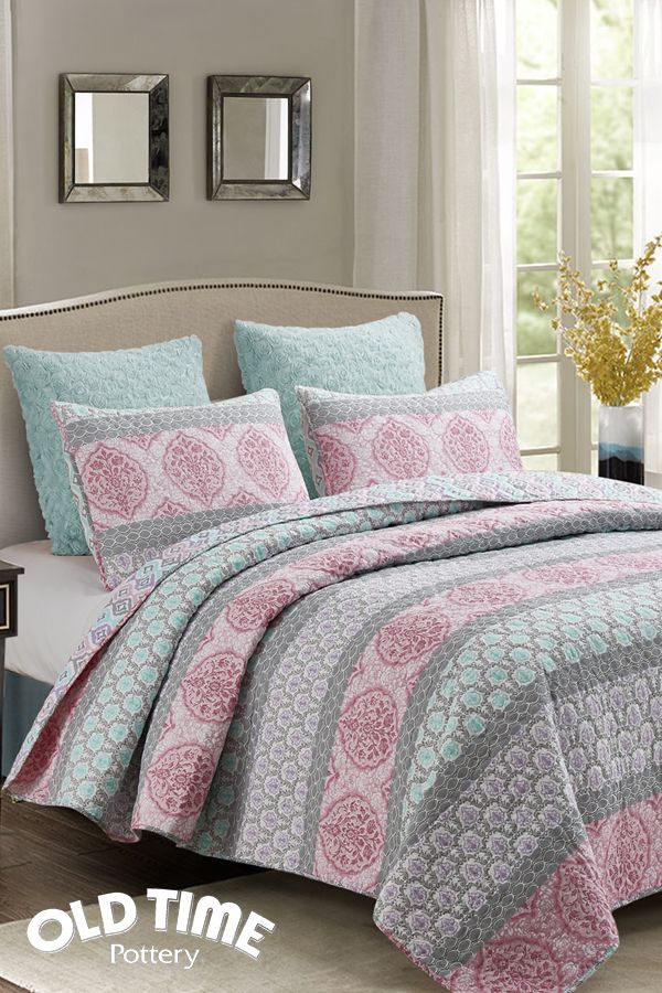 New Quilt Sets Arriving At Old Time Pottery Set The Tone With Some Soft Colors Of Teal And Pink This I King Size Bedding Sets Bedding Sets Sheets Duvet Cover