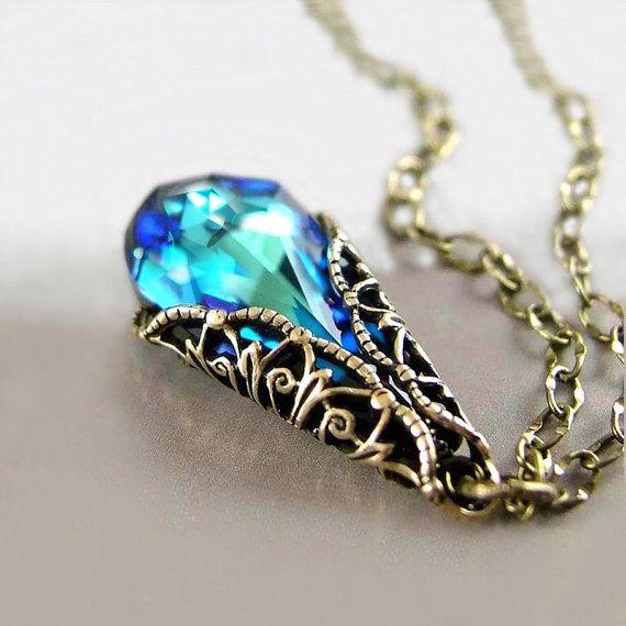Ocean Blue Crystal Necklace, Aqua Blue Pendant Necklace, Peacock Blue Necklace, Dark Blue Swarovski Crystal Teardrop Antique Gold Victorian