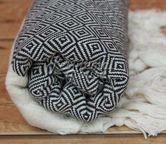 100% Cotton Extra HIGH Quality Hamam towel beach towel hammam peshtemal Turkish Towel DIAMOND Black
