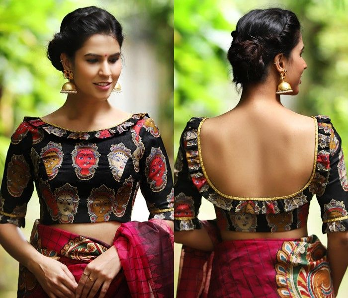 Designer Black Blouses You Can Shop Right Now Keep Me Stylish Fashion Blouse Design Kalamkari Blouse Designs Backless Blouse Designs