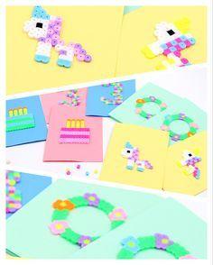 DIY Bügelperlen: So könnt Ihr Geburtstagskarten und Einladungskarten mit tollen Bügelperlen Motiven selbst gestalten. Die Einhörner Motive sind super schön für Kindergeburtstage oder die Freundin! Die Bügelperlen Vorlagen im Detail zum Nachstecken: