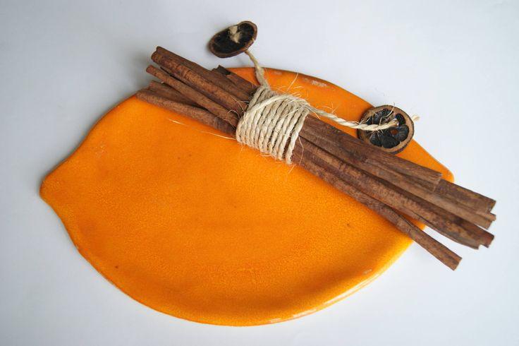 leaf plate, orange plate, ceramic leaf pleate by dsceramika on Etsy