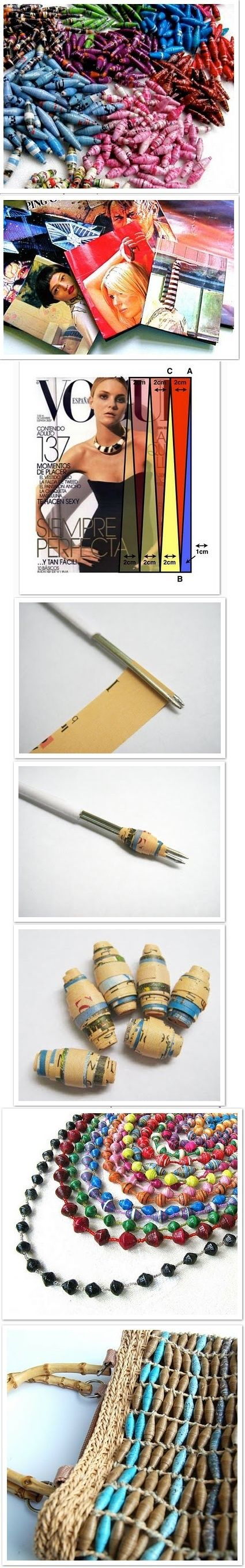 Beads paper - Recycling 1 Fan the paper.  Magazine is the best option.  2- Cut long triangles with a minimum base of 2 cm.3- Apply glue on paper, wrap with palito.4- Keep the tip of the triangle in the middle of the bead.  Here, it was used a second tool tips.  The basic is to use a barbecue stick.  -Pass A light acrylic sealant layer and make them more durable;  -Paint with gouache paint;  -Enrole Beads with glue and glitter, give brightness;  -Use Heavy fabrics and the same technique.