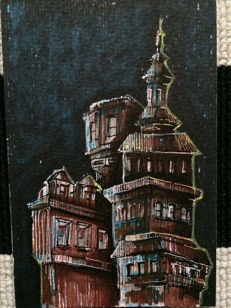 urban sketch night postcard