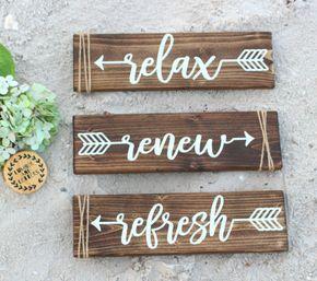 Relax sign – Relax Renew Refresh – Relax Refresh Renew – Bathroom Wall Decor – Farmhouse Bathroom – – Salon