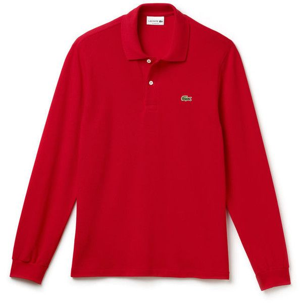 Polo Lacoste L.12.12 à manches longues (2,175 MXN) ❤ liked on Polyvore featuring tops, lacoste tops, polo tops, red top and lacoste