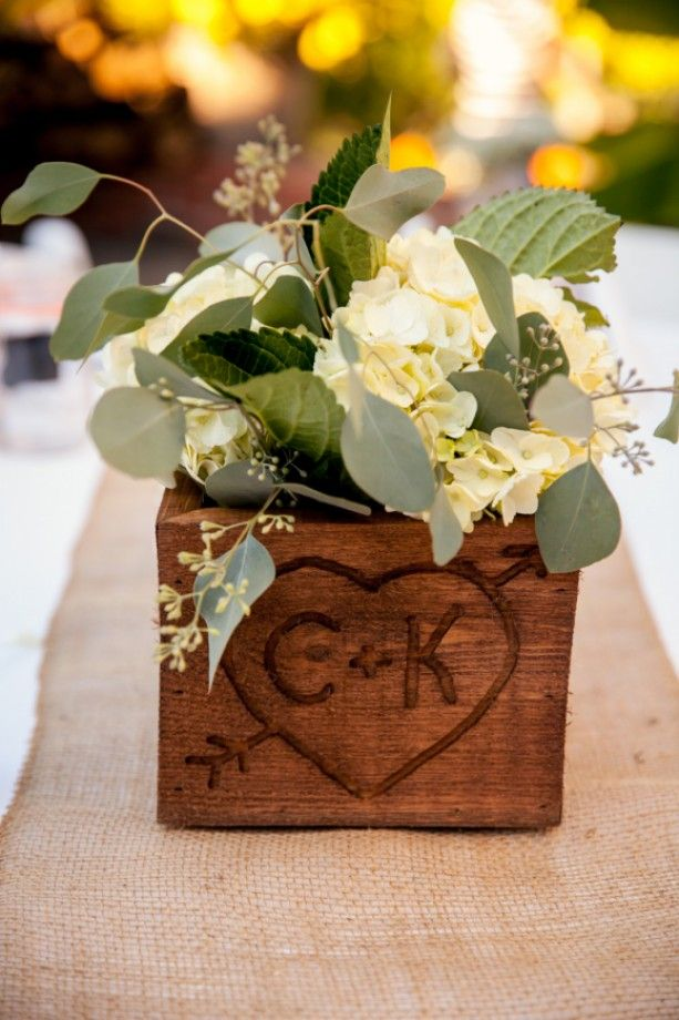 Customized Wooden Centerpiece for a rustic wedding