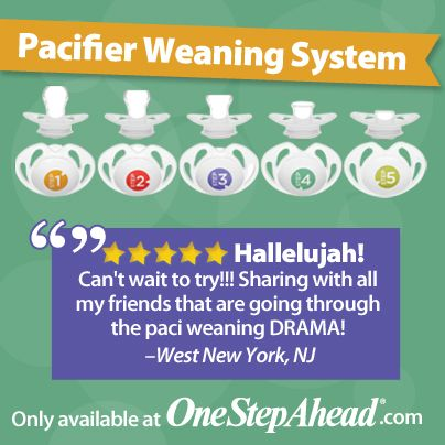 Pacifier weaning has never been easier! We're thrilled to be the very first to bring you this revolutionary weaning system, which has been proven to work in as few as five days. Its five pacifiers look identical, but each nipple is slightly smaller and less satisfyingly shaped than its predecessor. Keep stepping down at your chosen pace. by the time you reach pacifier number five, your child will have lost interest.