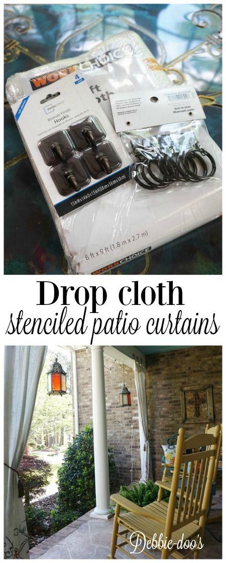 No sew stenciled drop cloth patio curtains