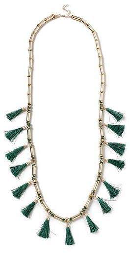 Womens dark emerald bead and tassel long necklace from Topshop - £15 at ClothingByColour.com