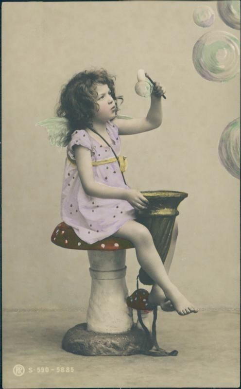 Vintage postcard, tinted photo, little girl with bubbles, Excellent unused condition, S. 590-5885. $7.00 on WorthPoint/ GoAntiques