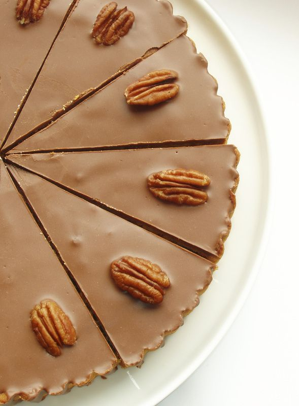 Chocolate Pecan Pie  (RAW, Dairy-Free, Gluten-Free, Soy Free, Refined Sugar-Free) Makes one large pie.