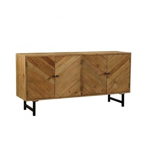 Chevron Design Reclaimed Pine Sideboard Cabinet