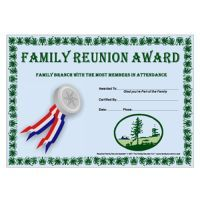 Family Branch with the most Members in Attendance Award: Prairie Life Theme Free Family Reunion Certificate Template EG-019310