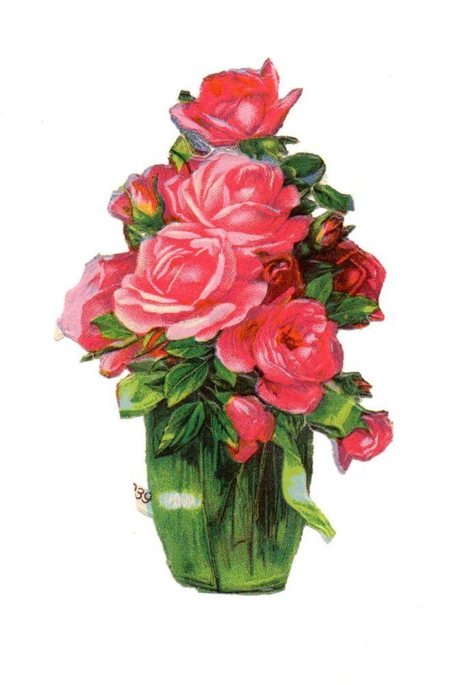 schöne alte Oblate  scrap die cut chromo -  schöne Blumenvase  (102)
