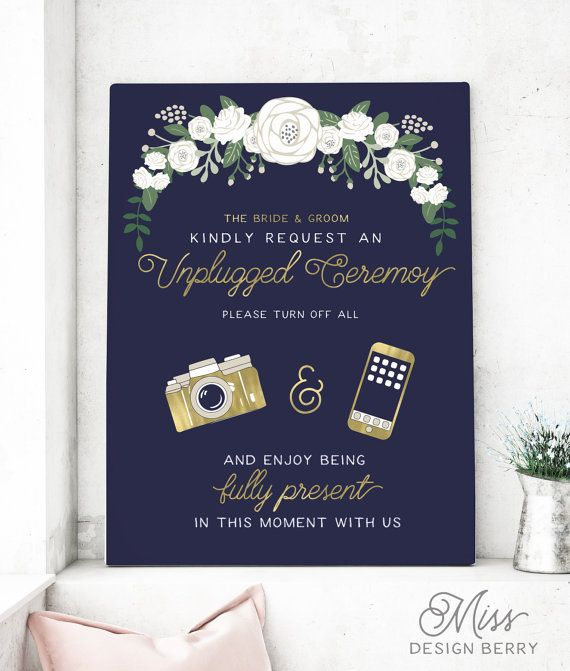 Unplugged Wedding Sign Navy and Gold by MissDesignBerryInc on Etsy