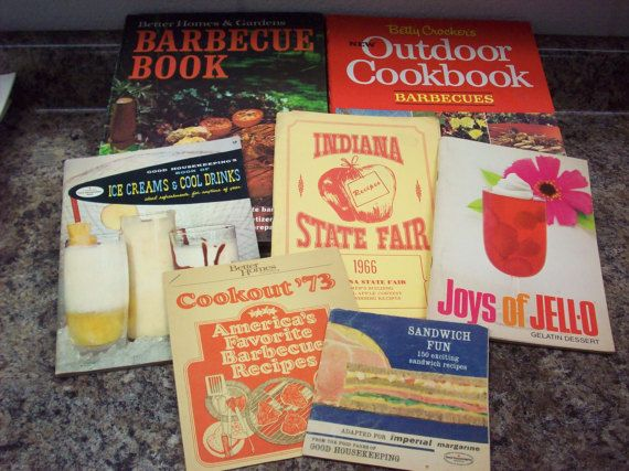 I recently picked up a large lot of vintage cookbooks/ booklets. Most are in very good condition; many look unused.  Maybe you need them to add to your collection or plan a retro meal. The graphics and photos in these are great.  In this listing are several summer themed ones:  1965 Better Homes & Gardens Barbecue 1967 Betty Crocker Outdoor Barbecues Picnics Boat Trips Camp-Outs 1966 Indiana State Fair Apple Recipes Joys of Jello Undated Late 60s-early 70s ? Cookout 73 1958 Ice Cream...