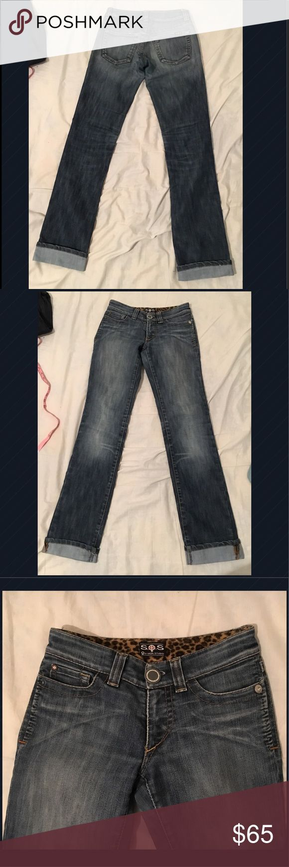 "S.O.S by Orza Studio jeans Straight leg blue jeans with sequined detailed front button. 40 & 1/2"" length to bottom, 31"" inseam, without cuffs it adds about 2 & 1/2"", waist is 14"". S.O.S by Orza Studio Jeans Straight Leg"