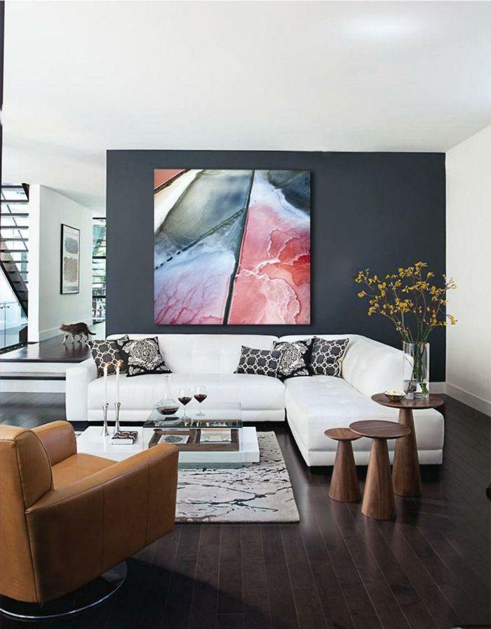 Quel Mur Peindre En Fonce Pour Agrandir Une Piece Les Secrets Pour Modeler L Espace Avec Les Couleurs Ar Idee Deco Salon Idee Deco Salon Moderne Deco Salon