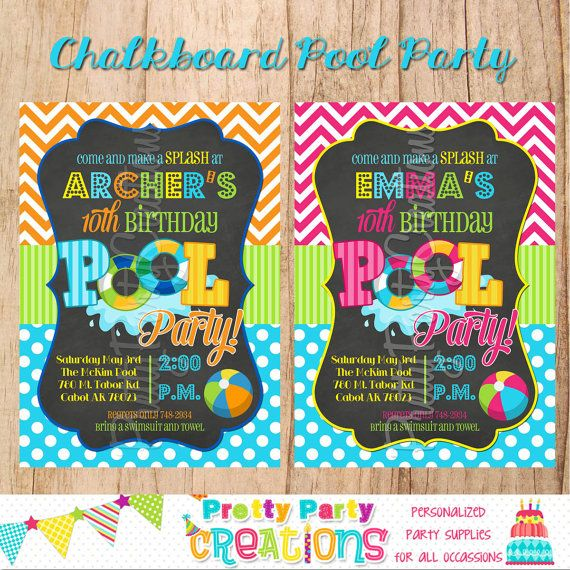 CHALKBOARD+POOL+PARTY+invitation++You+by+PrettyPartyCreations,+$11.50