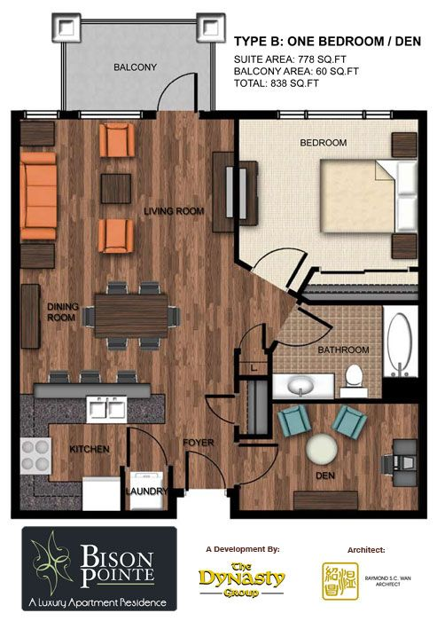 Open kitchen, to living room and dining room