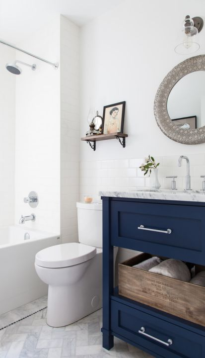 colorful bathroom vanities - deep blue vanity from The House Diaries