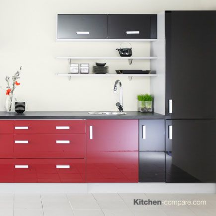 John Lewis - City Black Gloss. City is a contemporary kitchen available in a range of gloss, matt and matt wood effect colours. Find out more here - http://bit.ly/1RR4ZQH