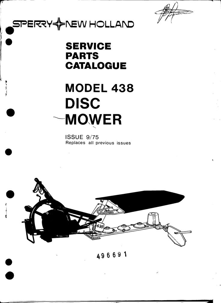 New Holland 438 Disc Mower Service Parts Catalogue