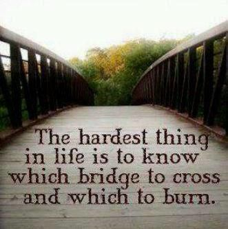 My mother always told me to never burn your bridges for you never know when you might need them.
