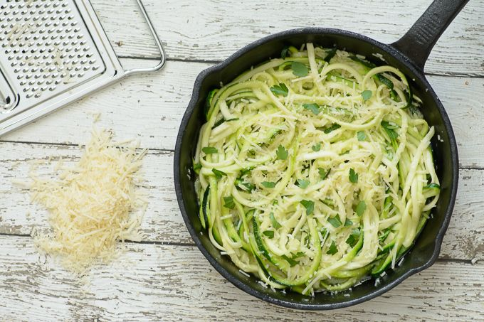 One Skillet Garlic Parmesan Zoodles. healthy, low carb, paleo and gluten free alternative to regular noodles. Even if you don't usually like zucchini, you will LOVE these! Substitute them for noodles in your favorite dishes for a fresh and healthy recipe!