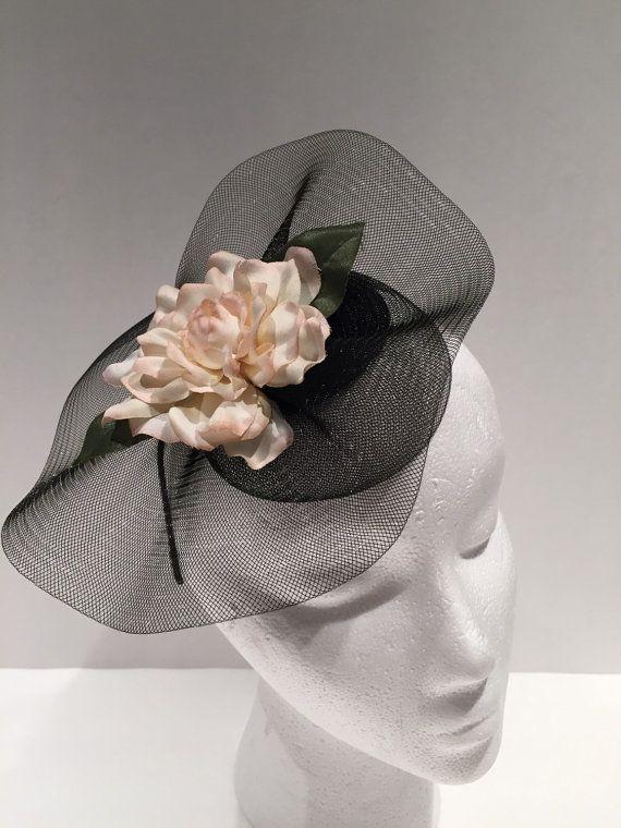 Fascinator-Gardinia noir bandeau-fleur bandeau - Kentucky Derby - Ivoire et noir bandeau-handmade USA-