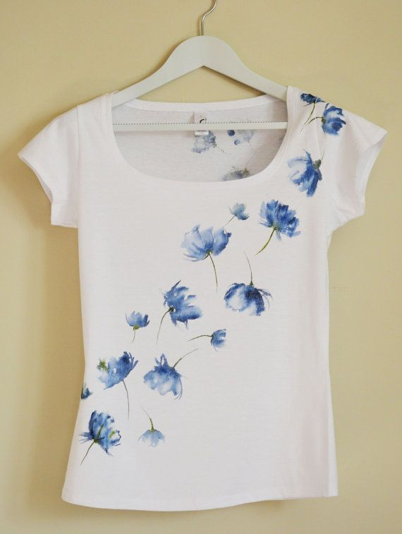 Blue  Hand Painted MYgarden Flowers T-shirt by Christeesandtops