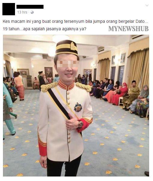 Remaja dapat gelaran Dato di usia 19 tahun netizen persoal siapa dirinya dan apa jasanya   Remaja dapat gelaran Dato di usia 19 tahun netizen persoal siapa dirinya dan apa jasanya | SETIAP tahun begitu ramairakyat Malaysia menerima darjah kebesaran yang dianugerahkan oleh Raja-Raja Melayu dan Ketua-Ketua Negeri sempena menyambut hari keputeraan masing- masing.  Bukannya mudahuntuk mendapat gelaran Dato atau Datuk ini setiap daripadanya perlu melalui proses penilaian dari pihak istana dan…
