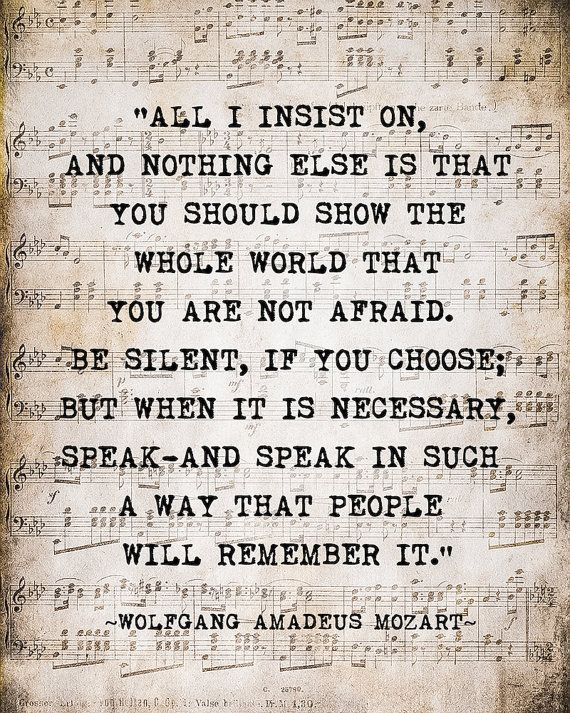 Mozart  Quote Music Notes Vintage Style Sepia Natural For the Musician Typography Word Art Print, Inspirational Quote