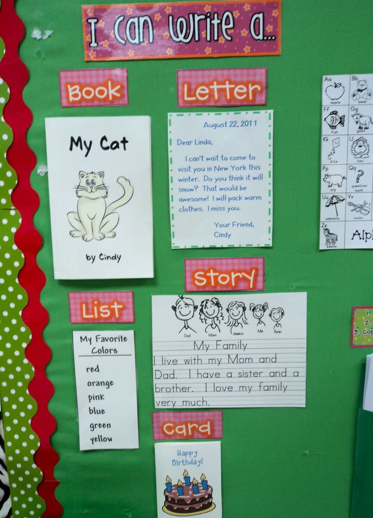 Modify: story of the week write letter to character, make a list of xyz from story, make a card for character, rewrite story, make a comic strip with story