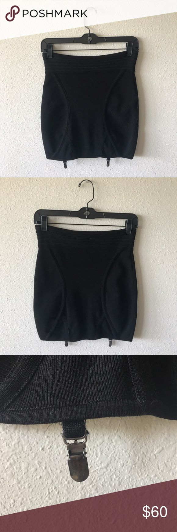 🌟SALE🌟 Black UO Bodycon Skirt Brand is Silence & Noise from UO. This skirt hits high on the waist and is made of a thick black material with clips for stockings! Super edgy and makes a statement when worn! Dress it up or down with a body suit or with a destroyed tee and combat boots. Flattering and flirty! Urban Outfitters Skirts Mini