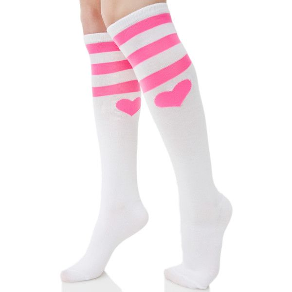 Heart Striped Knee Socks ($8) ❤ liked on Polyvore featuring intimates, hosiery, socks, striped knee socks, stripe socks, knee high socks, pink striped socks and leg avenue hosiery