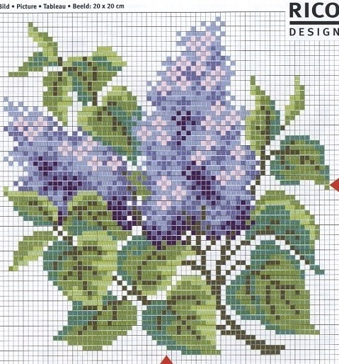 cross stitch chart is clear, but no floss numbers that I could find.  complicated enough color scheme that I'm not sure I'd attempt it without a key, but the lilacs are really well done.
