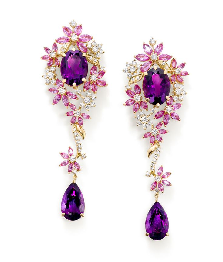 Earrings set with pink sapphires, purple amethysts and diamonds from Ganjams new Le Jardin collection.