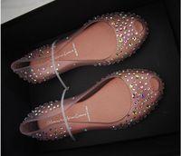 2014 nuevas mujeres de sandalias Melissa Jelly Shoes Diamond Crystal talón plano transparente del pescado articulan las sandalias envío gratis