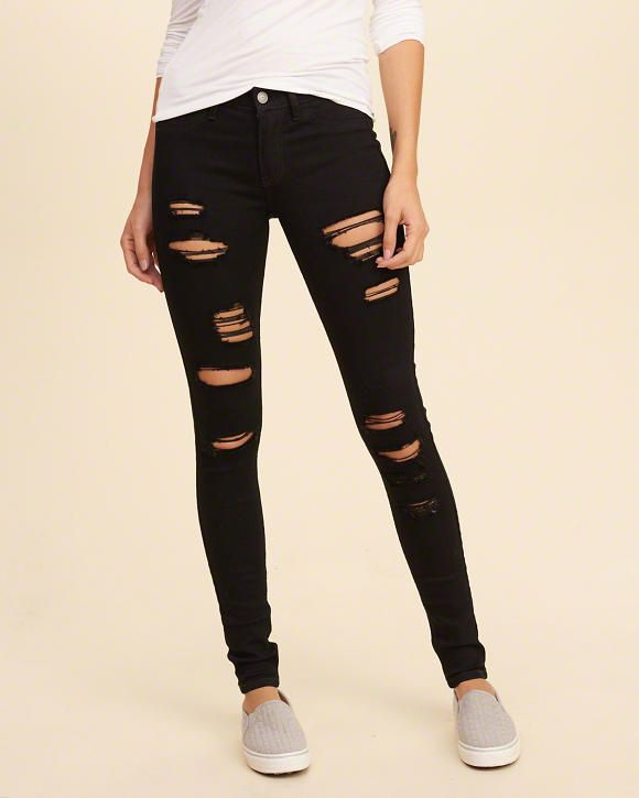 -Hollister Shredded Low-Rise Super Skinny Jeans -Size 0