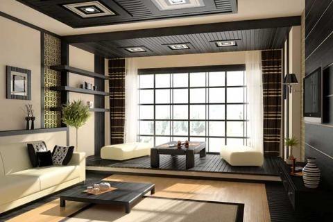 Зал в стиле японского минимализма