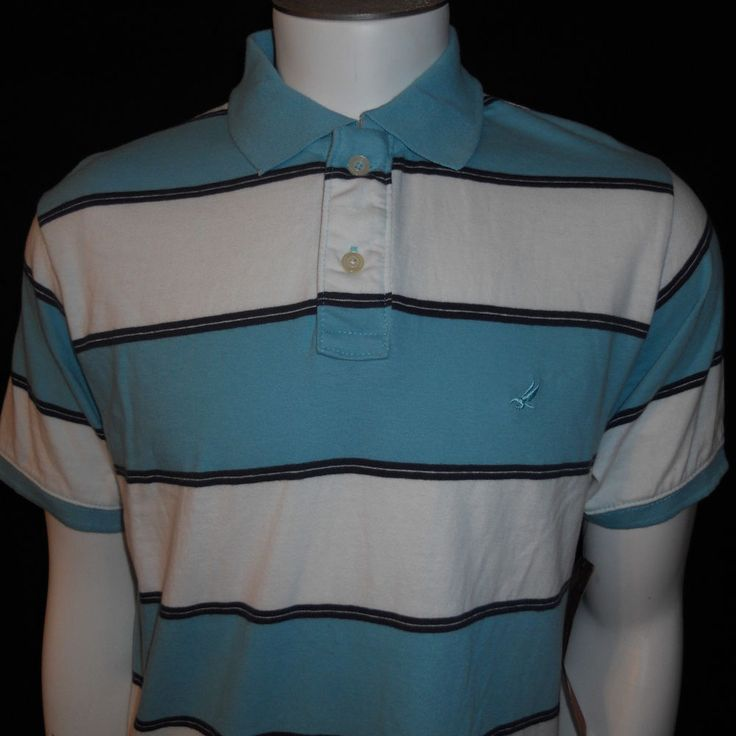NWT Urban Pipeline Polo Shirt Medium UP Vintage Inspired Teal White Striped #UrbanPipeline #UP