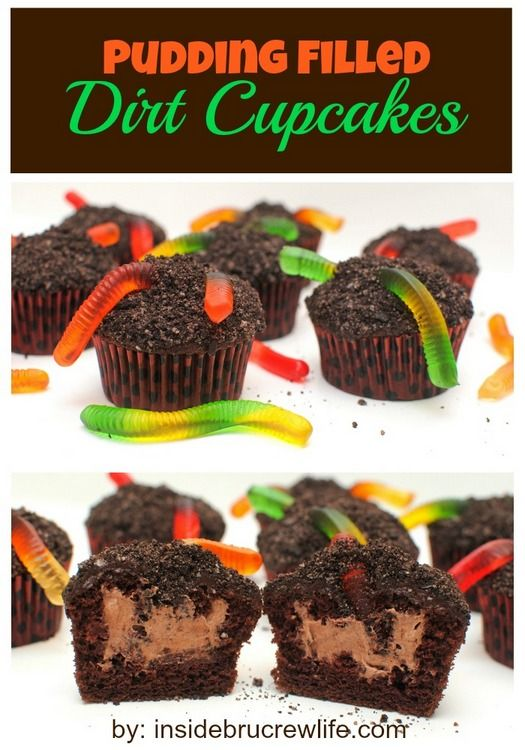 Chocolate cupcakes with a pudding center, cookie crumbs and gummy worms on top