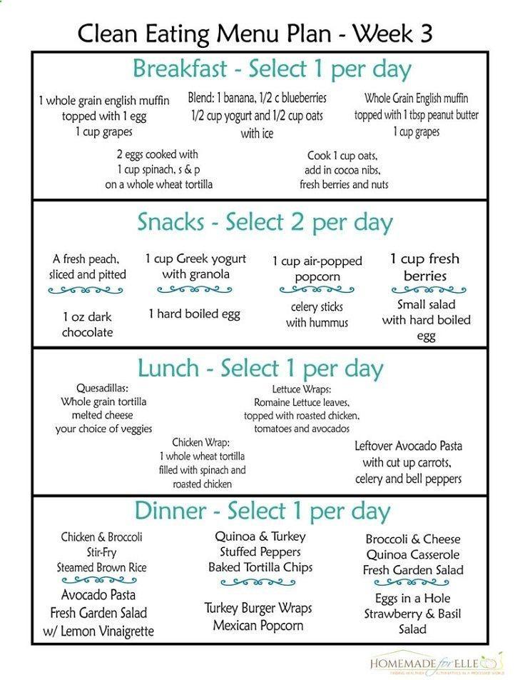 The 3 Week Diet Loss Weight Plan Weekly Clean Eating Meal Plan