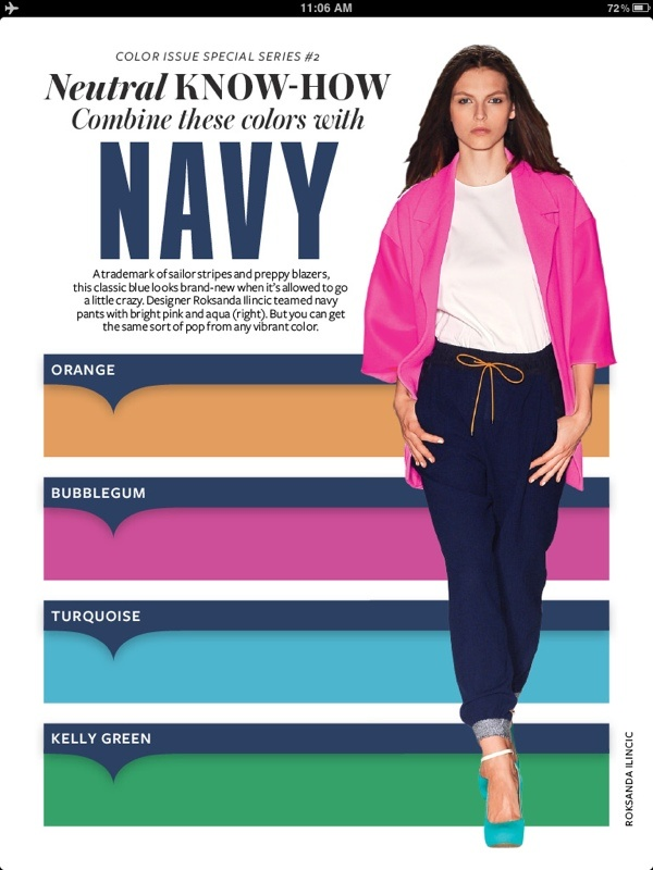 17 best images about instyle color crash course on for What colors match with navy blue