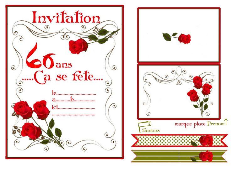 """Résultat de recherche d'images pour """"carte d'invitation d'anniversaire 60 ans gratuite à imprimer"""""""
