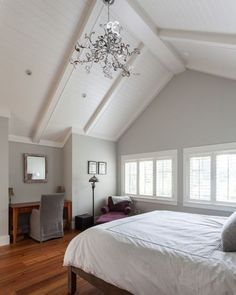White Wooden Vaulted Ceiling And Reddish Brown Floor For Magnificent Bedroom Decorating Ideas