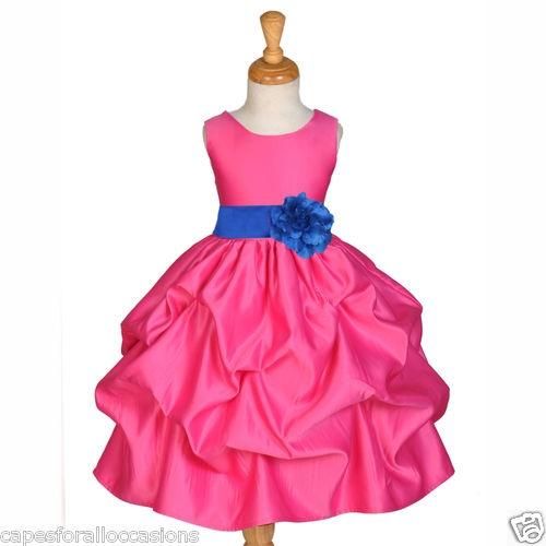 FUCHSIA ROYAL BLUE RECITAL KIDS HOLIDAY GOWN FLOWER GIRL DRESS 18M 2 4 6 6X 8 10   eBay