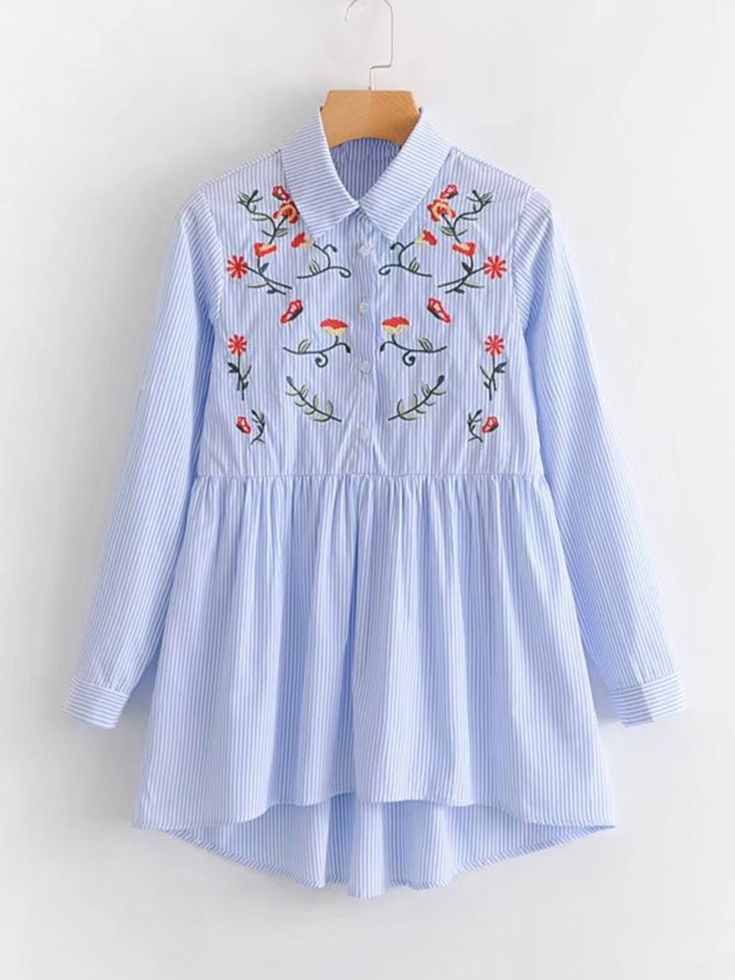 Long Sleeve Blouses. Peplum Decorated with Embroidery. Designed with Collar. Regular fit. Perfect choice for Casual wear. Striped, Floral design. Trend of Spring-2018, Fall-2018. Designed in Blue.